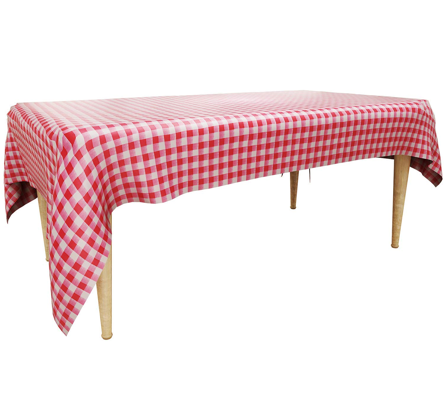 """Trooer 4 Pack Plastic Red and White Checkered Tablecloths Picnic Table Covers - 54"""" x 108"""""""