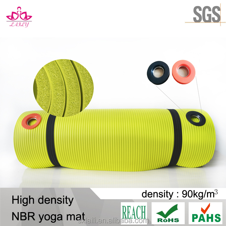 High density NBR yoga mat with carrying strap and yoga mat bag 6P