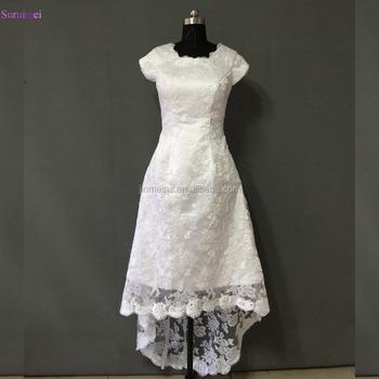 Cap Sleeves Tea Length Wedding Dresses With Short Sleeves Short ...