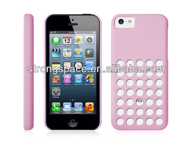 Pink dot hole color case for iphone 5c with various colors by China supplier