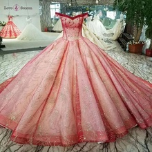 LSS030 new luxury elegant kualitas tinggi ball gown lace pink evening dresses plus size off shoulder bridesmaid dresses