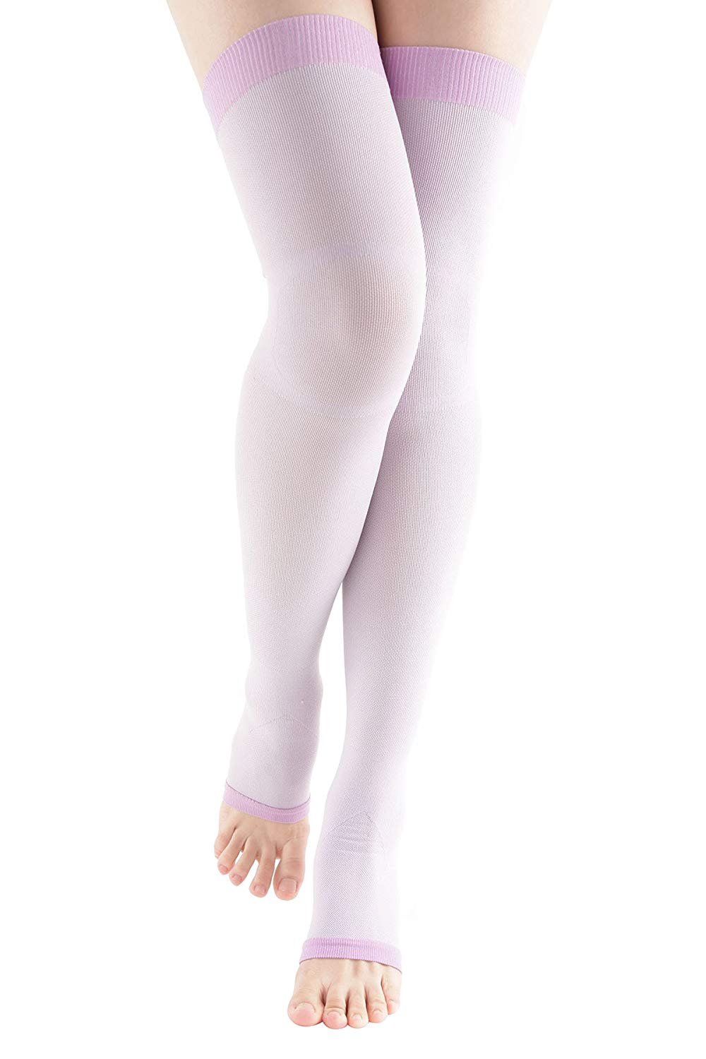 ab7a6193dc941 Get Quotations · MD Women's Overnight Sleep Wearing Slimming Compression  Colorful Thigh Highs 8-15mmHg Purple9-11