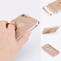 3 in 1 PC Case Electroplating Edge Convenient Ring Stand 360 Angle can be Adjusted for Viewing Phone Case for iPhone7