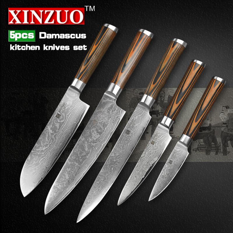 steel kitchen knives set 5 pcs kitchen knife set 73 layer japanese vg10 damascus