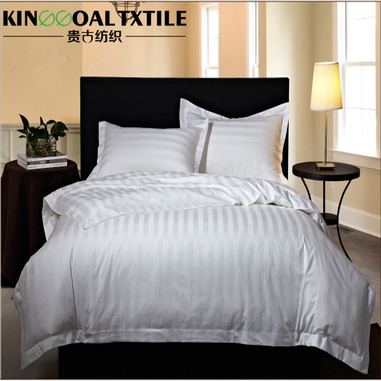 100% Sateen Strip Cotton Jacquard Hotel Linen/ Bedding Set/Bed Sheets