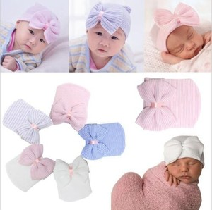 Newborn Infant Toddler Girls Baby Stripe Bowknot Beanie Hat Comfy Hospital Cap