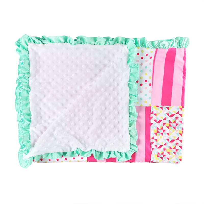 wholesales home textile baby infant toddlers ruffle trimmed patchwork blanket