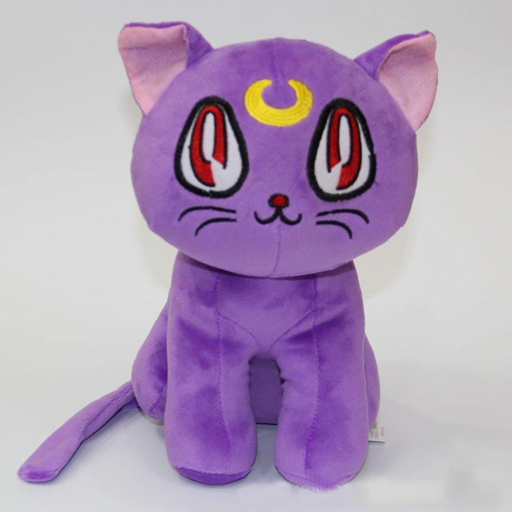 "Sailor Moon 12"" Pretty Soldier Luna Cat Stuffed Plush Toy Dolls,Purple"