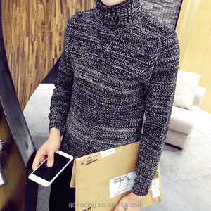 2017 pure color knitted mens high collar cashmere wool sweater