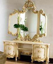 Antique Baroque Furniture Carving Vanity Dressing Table with Floral Mirror BF11-07303f