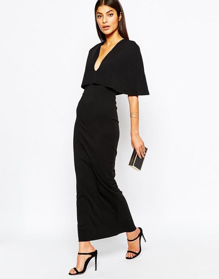 Trendy Cape Top Fashion Looks With Jeans Idea: Elegant Women's Trendy Cape Sleeve Deep Plunge V Bodycon