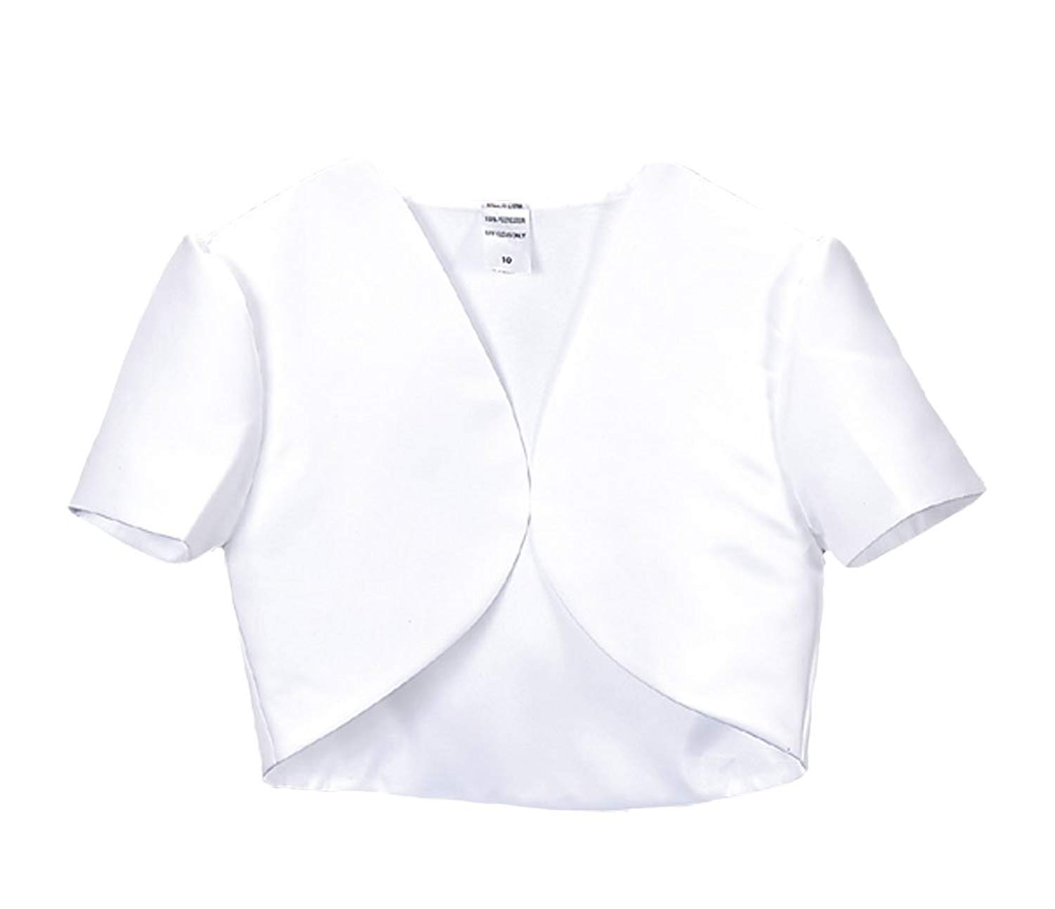 e8e97712e2d86 Get Quotations · Girl s White Short Sleeve Satin Bolero Jacket - Size 20X