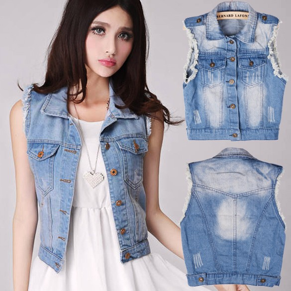 Women's Retro Washed Sleeveless Personalized Cardigan Long Denim Coat for Women SV001429