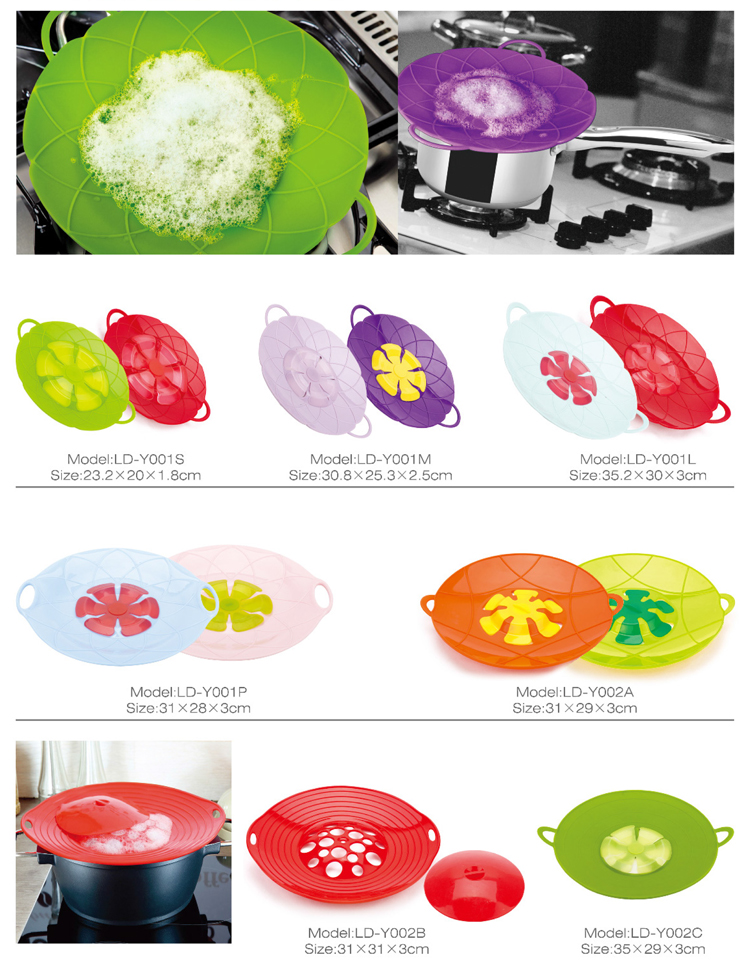 Trade Assurance eco-friendly  Silicone Boil Over Spill Stopper Splatter Guard Pot Pan Lid Cover