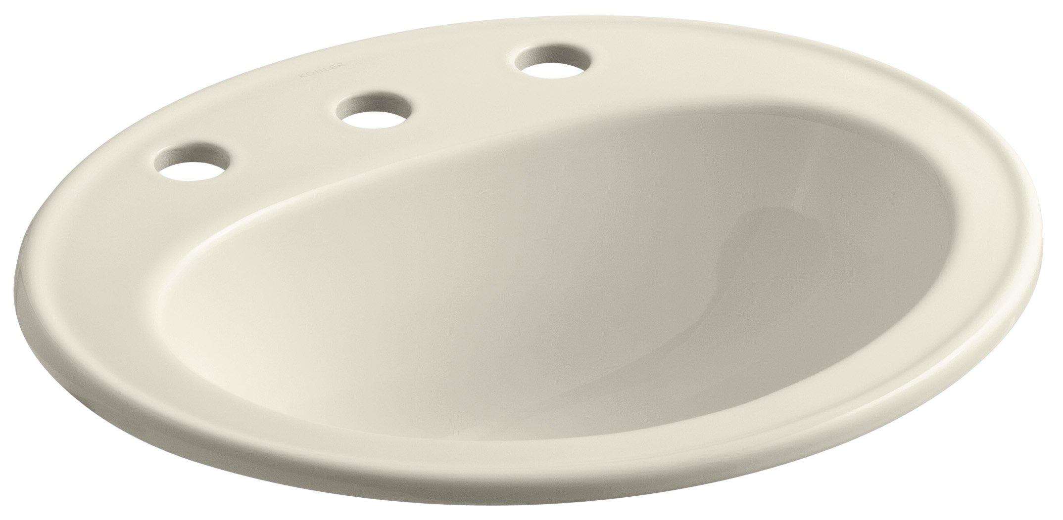 KOHLER K-2196-8-47 Pennington Self-Rimming Bathroom Sink, Almond