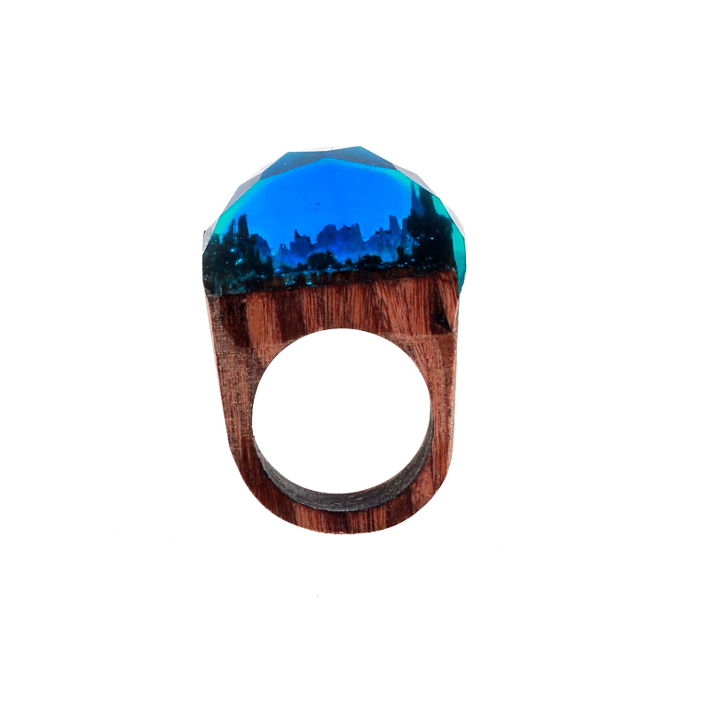 New Design DIY handcraft Wood and Resin Secret Transparent Rings Blue Forest Ring Handmade Magical Jewelry for Woman
