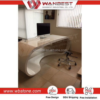 Elegant Customized Artifical Marble Executive Office Desk Manager Computer Table  With Cabinets
