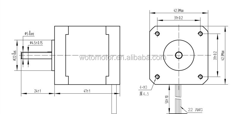 Nema 17 stepper motor for reprap machine buy for Nema 17 motor specs