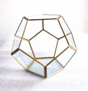 Hand Made Geometric Design Glass and Copper Terrarium Flower Vase For Indoor & outdoor use