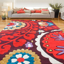 Wool Viscose mixed Embroidered pattern Flower design area rug