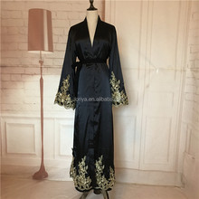 Fashion design embroidered gold flowers black abaya wholesale maxi dress front open abaya