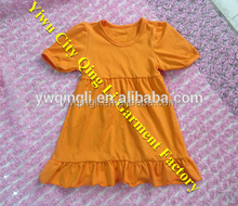 2015 Popular Girls Fresh Dresses Girls Summer Solid Color 100% cotton orange Ruffle Dress Perfect Dress
