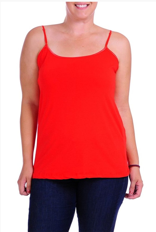 e4827678e9f Get Quotations · JKC USA Plus Size Women s Camisole Built-in Shelf Bra  Adjustable Spaghetti Straps Tank Top