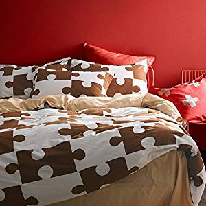 Jigsaw Puzzles Coffee Bedding Duvet Cover Set Kids Bedding Teen Bedding Dorm Bedding Gift Idea, Queen Size