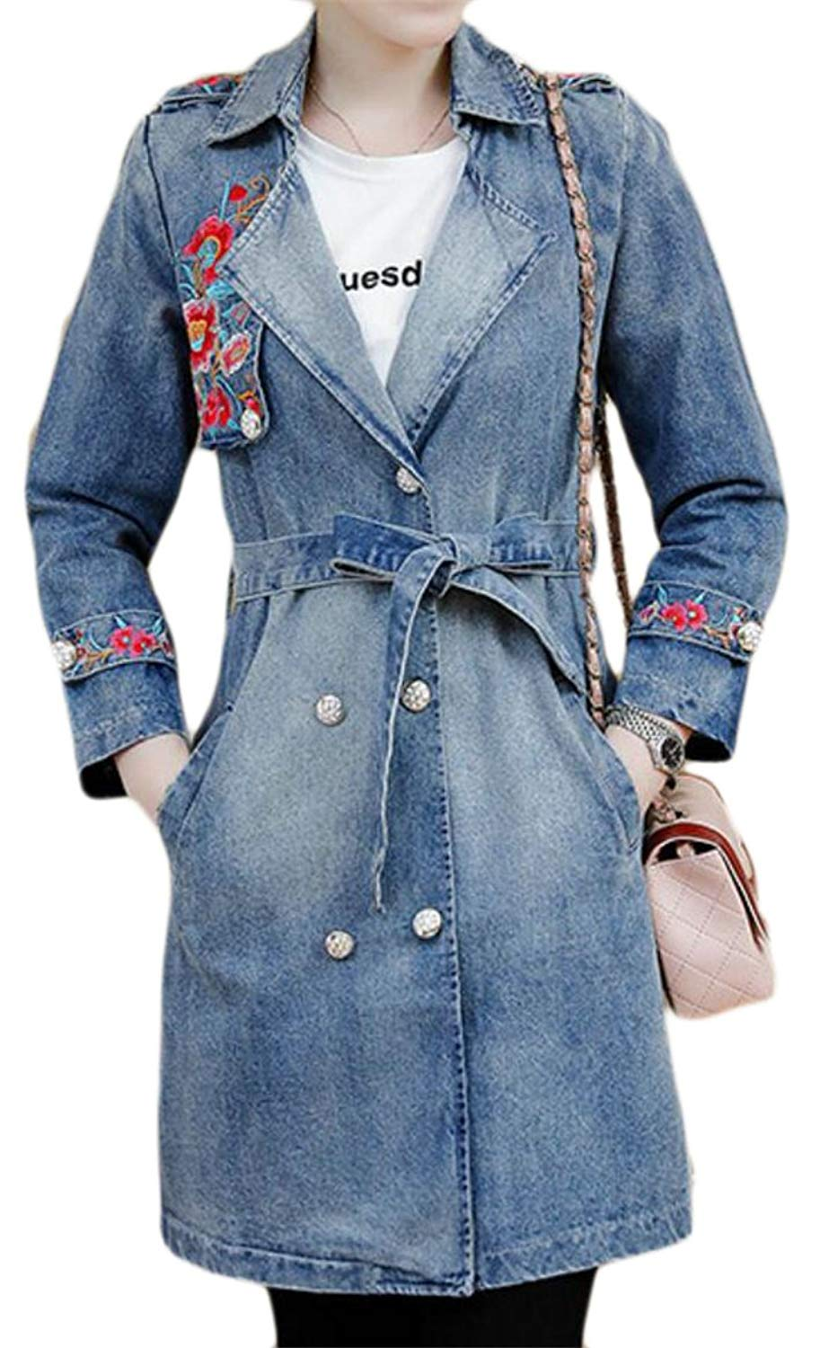 ONTBYB Womens Turn-Down Collar Double-Breasted Mid-Length Denim Jackets