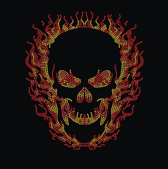 Flame Skull Rhinestone Halloween Ghost Rider Iron On Transfer Buy