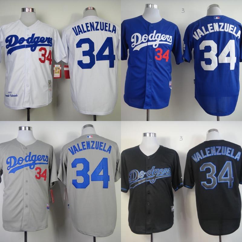 31adbaf23 ... wholesale Los Angeles Dodgers shirt 34 Fernando Valenzuela Mens Baseball  Jerseys coolbase gray ...