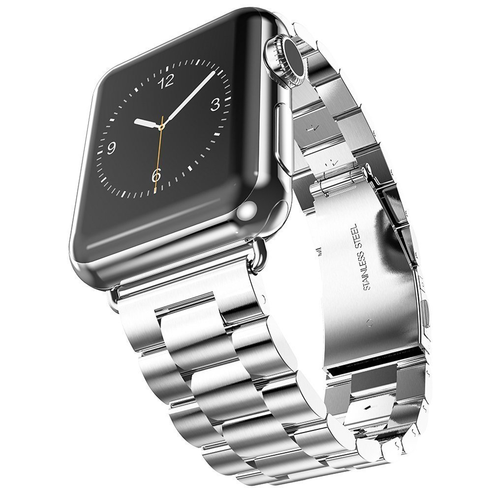 Apple Watch Band, Stainless Steel Strap Wrist Band With Double Button Folding Clasp, Adapter for Apple Watch All Models (Watch, Sport, Edition) 38mm – Silver