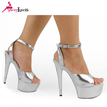 e8b64ed812cd Sexy Evening Club Girls High Heel Silver Dress Shoes Women Platform Dancing  Sandals