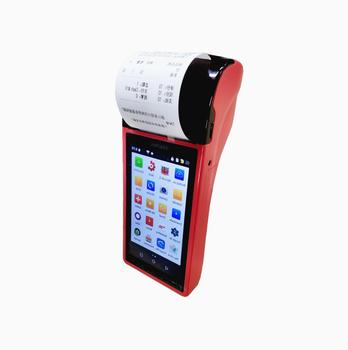 All in one  handheld mobile Android pos 5inch touch screen with 3G network bluetooth WIFI barcode and 2D scanner receipt Printer