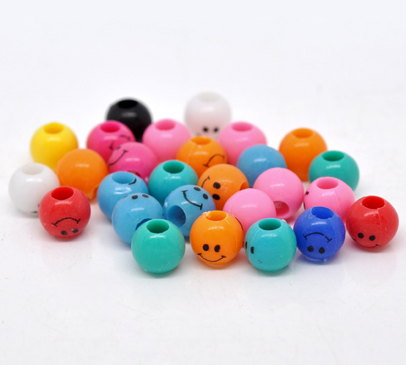Mixed Multicolor Smiley Face Plastic Spacer Beads 9x8mm, sold per packet of 200