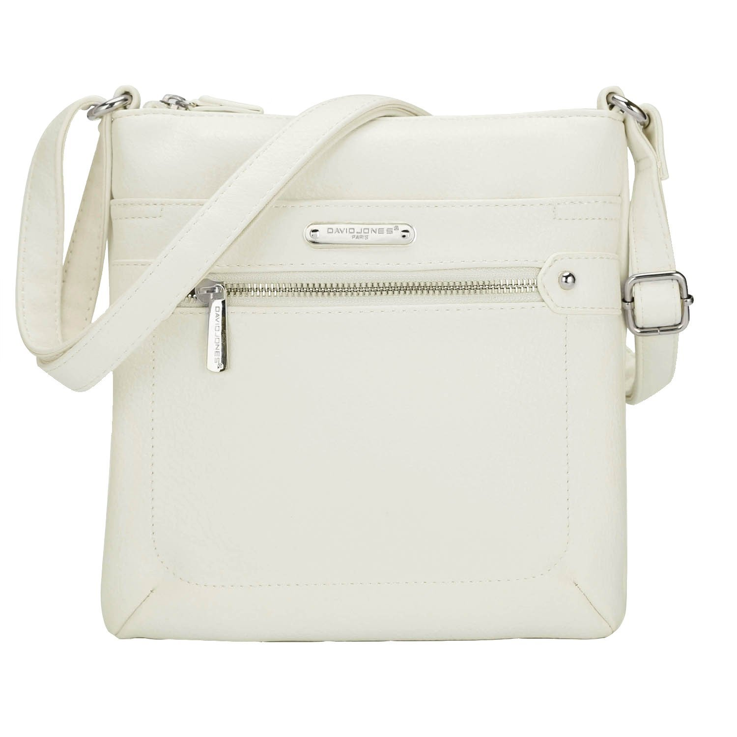 c3151896749c DAVID JONES Zipper Crossbody Purse for Woman Messenger Bags Faux Leather  Handbags with Shoulder Strap