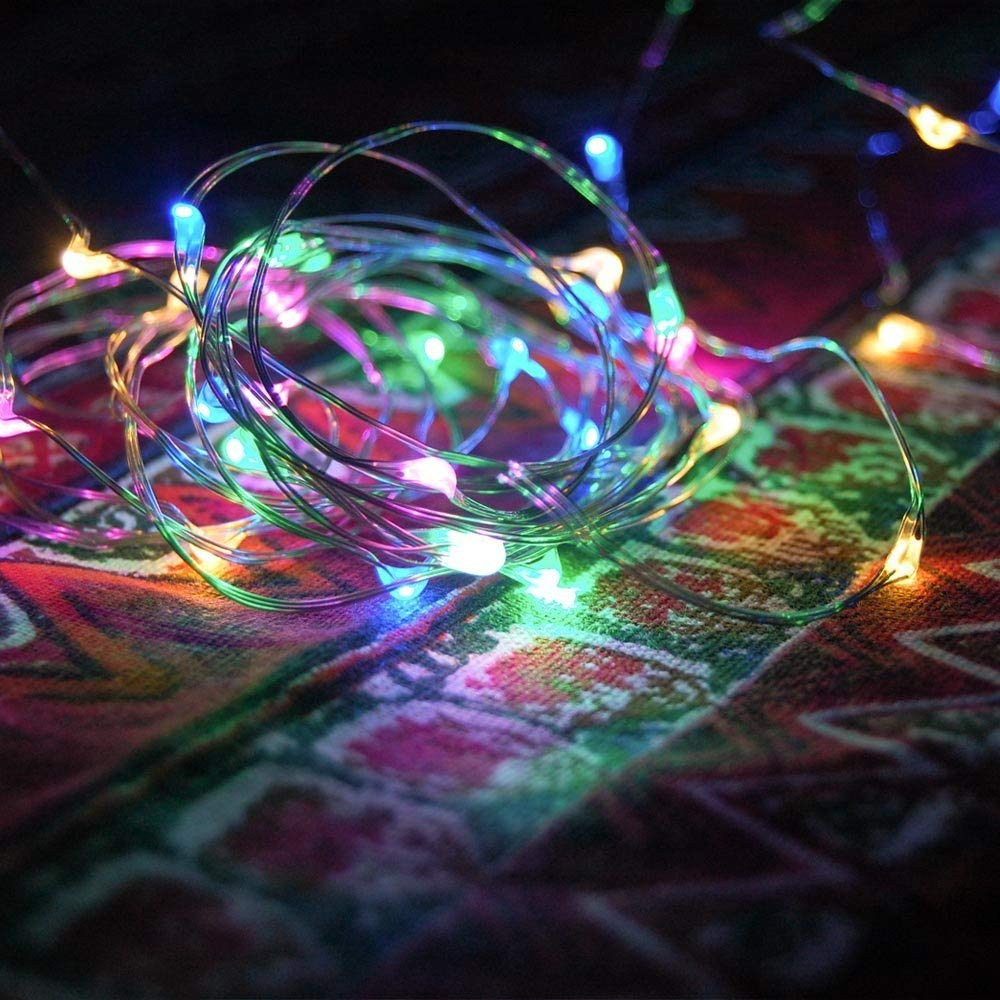 Beszin 10 Meter 100-Mini LED String Lights, 8-Modes, Battery Powered, Flexible Silver Wire, Outdoor String Lights with Remote Control, for Garden, Christmas, Decoration, Fairy Lights (1, Multi-Color)