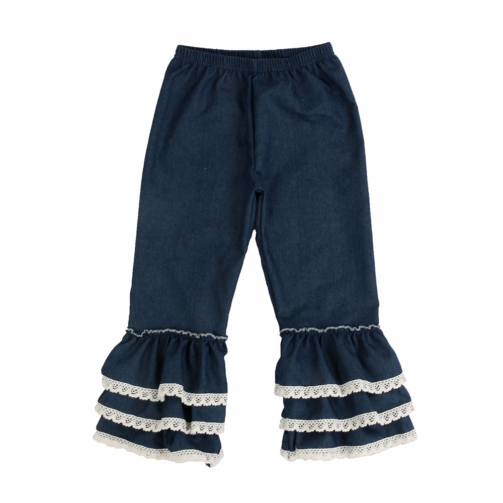 Wholesale high quality boutique children clothing trousers rufflescotton fabric  baby girls pants