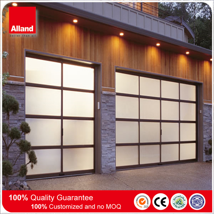 Black Anodized Aluminum Frame Automatic sectional 16 Panels Garage Door