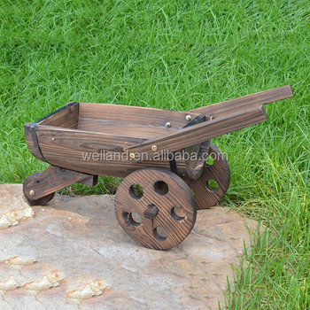 Rustic Wooden Planter Wagons Garden And Backyard Decoration