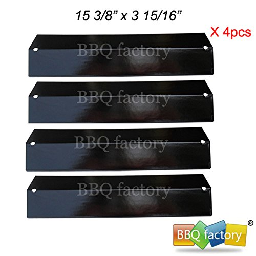 bbq factory® Replacement Porcelain Steel BBQ Gas Grill Heat Plate / Heat Shield JPP311 (4-pack) Select Gas Grill Models By Brinkmann, Charmglow, Uniflame, Aussie, Grill King and Other