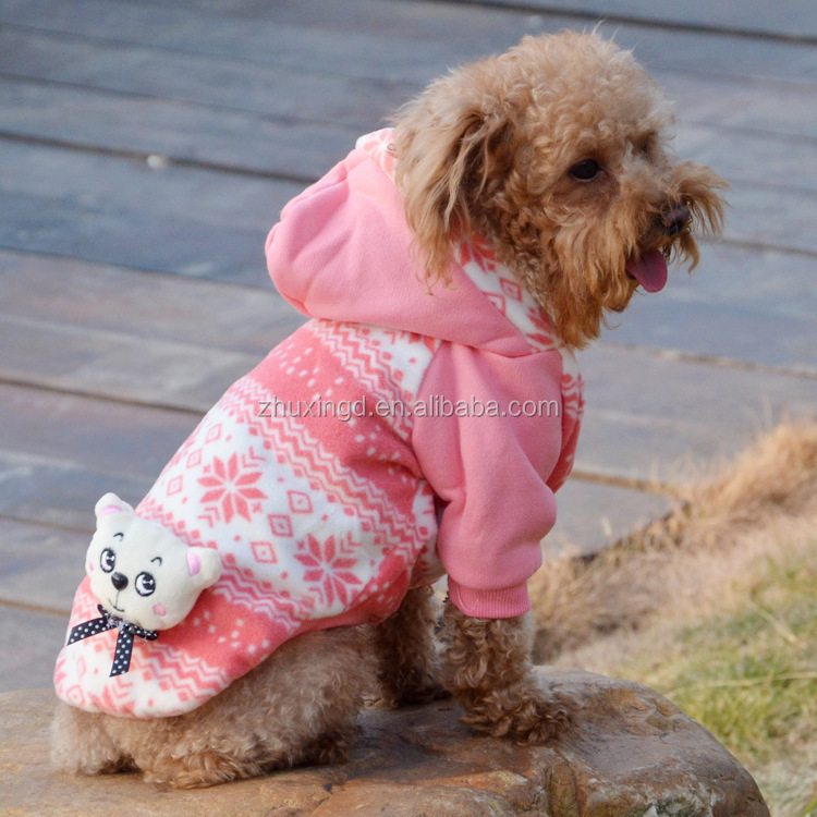 Pink pet hoodies with cute doll XXL dog clothing