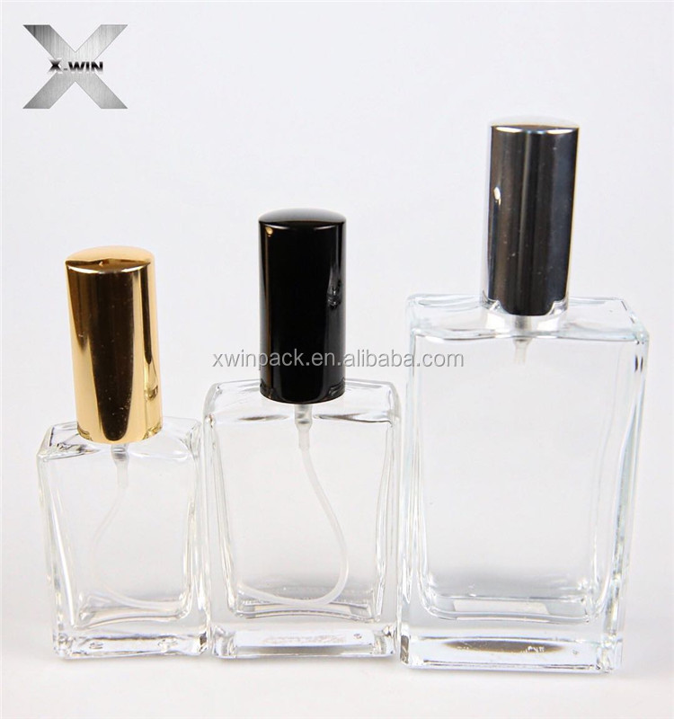 Wholesale luxury cosmetic packaging 30ml 50ml 100ml perfume glass bottles jars with aluminum acrylic screw pump spray cap