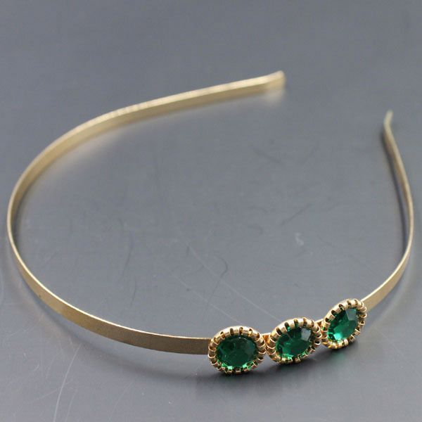2014 mew design lady metal headband,gem emerald headband,fashion gem hair accessory