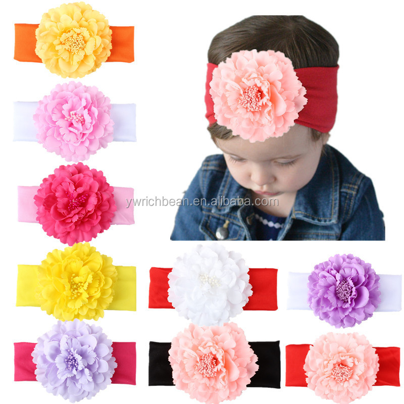 Hot-sales children large flower headband cotton head wraps bands headbands band for hair accessories flower headwear wh-2057