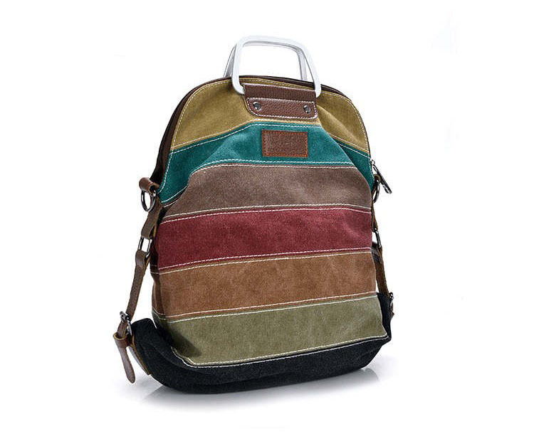 Quality assurance k2 patchwork rainbow color block backpack women canvas backpacks rucksack Multifunction girls crossbody bag