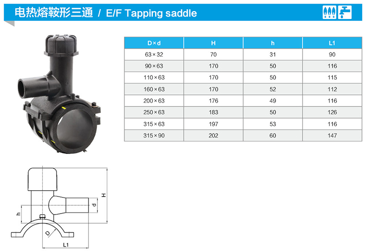 Electrofusion  PE Pipe Fittings HDPE Tapping Saddle Tee For PE PVC Pipe
