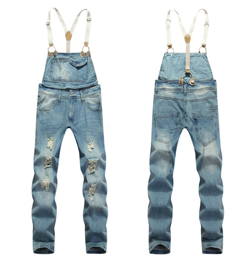 8a2ae0f94c32 Get Quotations · 2015 Summer Long Solid Blue Slim Cowboy Overall Cotton  Hole Designer Fashion Bib Denim Overalls For