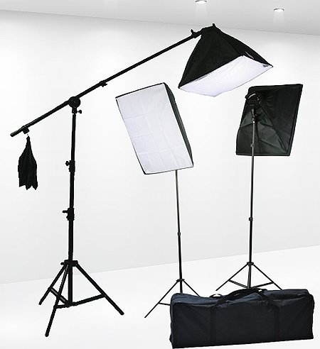 Fancierstudio Lighting Kit 2400 Watt Professional Video Lighting Kit With Three Softbox Lights, Boom Arm Hairlight Softbox, Lighting Kit for Studio Photography and Continuous Lighting (9004SB2)