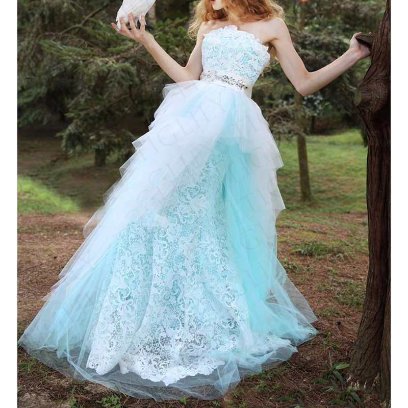Strapless Wedding Dress Lace Bridal Gown Casual Beach Outdoors Wedding Dresses Bohemian Wedding Gown 2019 vestido de noiva